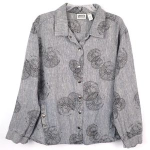 CHICOS Gray Chambray Linen Mandala Shirt